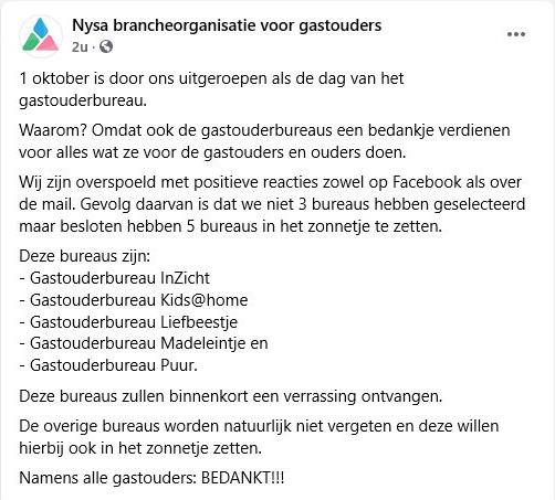 Nysa brancheorganisatie zonnetje dag van gastouderbureau Westerkwartier